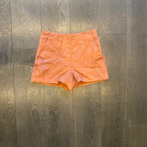 High Waisted Velvet Burnt Orange Shorts